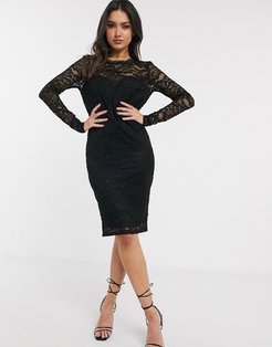 lace midi dress with scalloped back in black