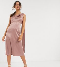 satin midi dress with drape back in pink