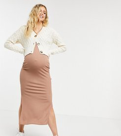 Flounce Maternity ribbed midi skirt with side splits in taupe - part of a set-Beige