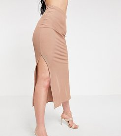 Flounce Tall ribbed midi skirt with side slits in taupe - part of a set-Beige