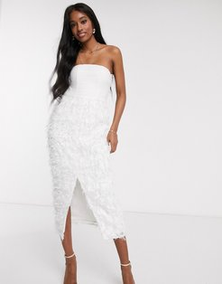 bandeau midi pencil dress with 3D fringe in white