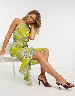 high neck ruffle midi dress in lime floral-Multi