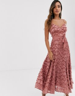 midi dress with fringe 3D fabrication in dusty rose-Pink