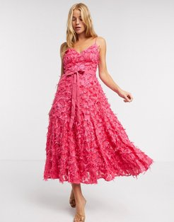 midi dress with fringe 3D fabrication in hot pink