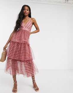 tiered midi dress in gingham-White