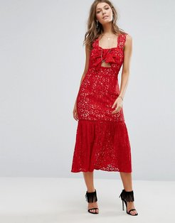 Bow Front Midi Lace Dress-Red