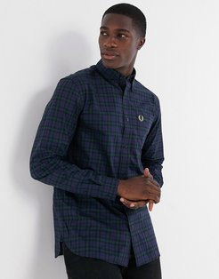 checked shirt in navy/green