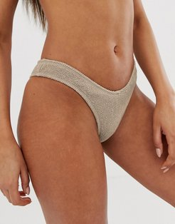 mix & match crinkle high leg bikini bottom in taupe-Grey