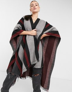 cape scarf in gray black and red-Grey
