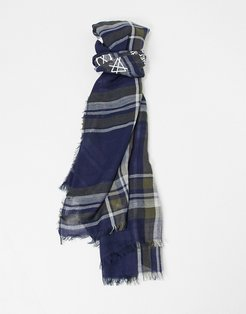 classic scarf in blue and maroon stripe print