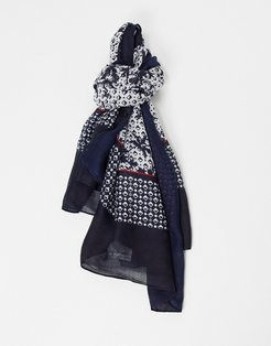 fringed scarf in blue pattern