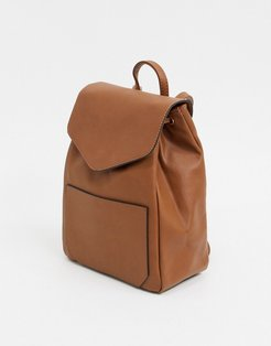 Leather Drawstring Backpack-Tan
