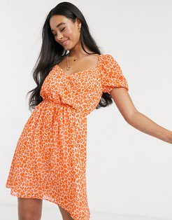 lips and heart print mini dress-Orange