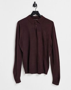long sleeve polo in Burgundy-Red