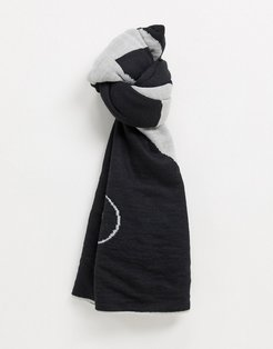 scarf in utility black and gray print