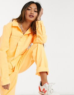 sekai neon denim boilersuit in orange