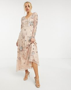 all-over fairytale embellished maxi dress in multi-Pink