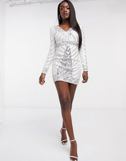 Club body-conscious mini dress with allover embellishment in white