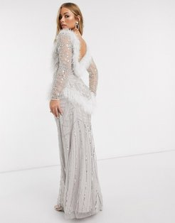 Club faux feather maxi gown with embellishment in white