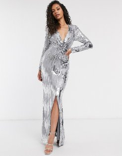 Club knot front silver embellished maxi dress in gray