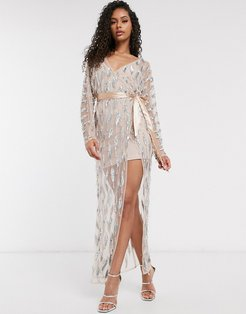 Club sheer emebllished maxi dress with bodysuit in silver