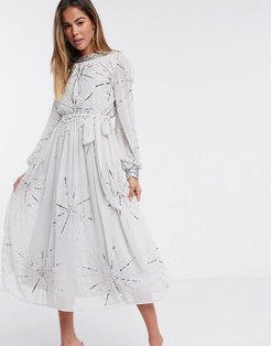 embellished midi dress in silver gray