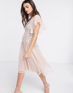 scattered sequin midi skater dress with angel sleeve in blush-Pink