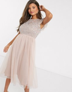 Frock & Frill embellished frill sleeve dress in pink