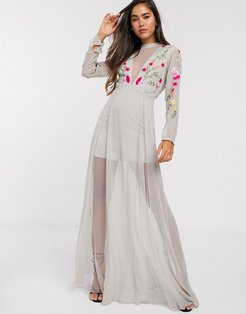 Frock & Frill embroidered maxi dress with sheer panels in gray