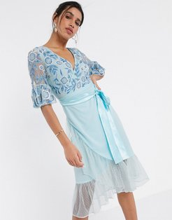 Frock & Frill fluted sleeve embellished midi dress in blue