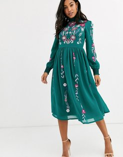 Frock & Frill long sleeve high neck embroidered midi dress-Green