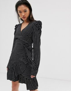 Denice check print wrap mini dress with puff sleeves-Black