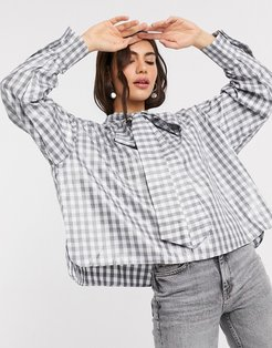 oversized shirt in high shine check with pussybow tie-Blue