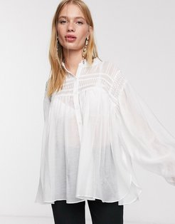 oversized shirt with statement sleeves and pleated detail-White