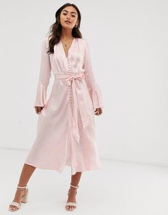 annabelle satin button front midi dress in daisy print-Pink