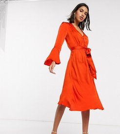 exclusive annabelle satin button front midi dress with flare sleeves-Orange