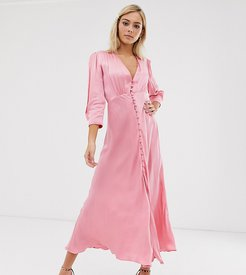 exclusive maddison button front satin midi dress-Pink