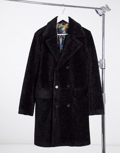 all-over teddy coat-Black