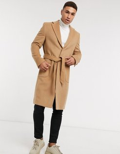 longline belted wool blend coat-Brown