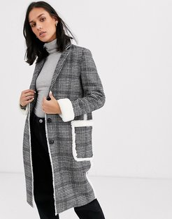 longline wool blend check coat with faux fur trims-Gray
