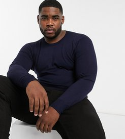 Plus premium muscle fit stretch crew neck sweater-Navy