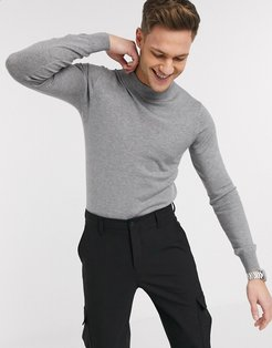premium muscle fit stretch turtleneck fine gauge sweater-Gray
