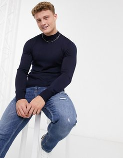 premium muscle fit stretch turtleneck sweater-Navy