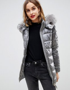 quilted jacket with faux fur hood-Silver