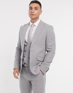 skinny fit gray flannel suit jacket