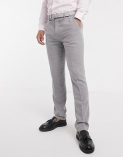skinny fit gray flannel suit pants