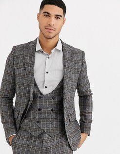 Skinny Fit Wool Blend Burgundy Check Suit Jacket-Gray