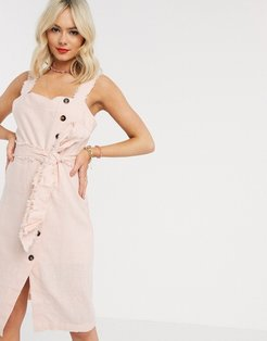 button down midi dress with tie waist detail in pink