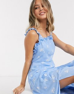 square neck midi dress with ruffle detail in blue ditsy floral
