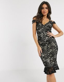 lace off the shoulder midi dress in black
